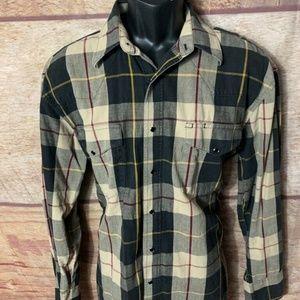 Wrangler western Button Front Shirt Mens Plaid Lon